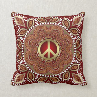Golden Peace Earth Tribal Batik Cushion / Pillow