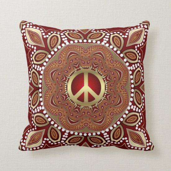 Golden Peace Earth Tribal Batik Cushion / Pillow