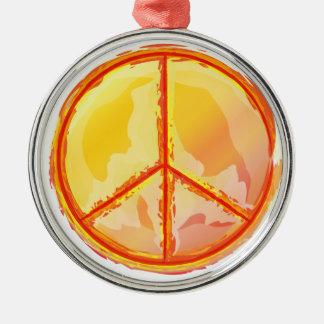 Golden Peace Metal Ornament