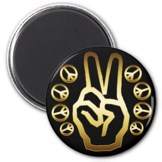 GOLDEN PEACE SIGNS 2 INCH ROUND MAGNET