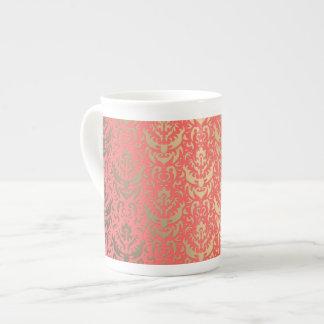 Golden Peach Elegant Shimmering Damask Tea Cup
