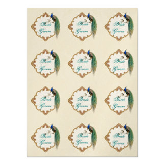 Golden Peacock & Calligraphy Favor Gift Tag Sheet 6.5x8.75 Paper Invitation Card
