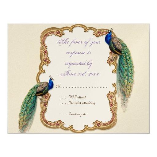 Golden Peacock & Calligraphy RSVP Response Card