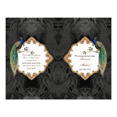 Golden Peacock & Calligraphy Swirl Wedding Program
