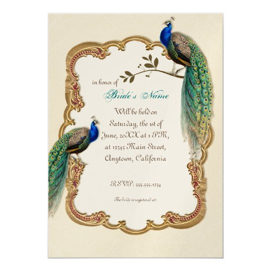Golden Peacock & Calligraphy Swirls Invitation