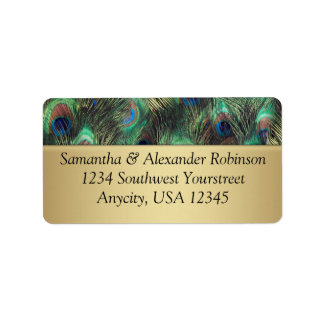 Golden Peacock Feather Background Address Label
