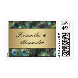 Golden Peacock Feather Background Postage