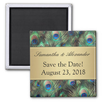 Golden Peacock Feather Background Save the Date Magnet