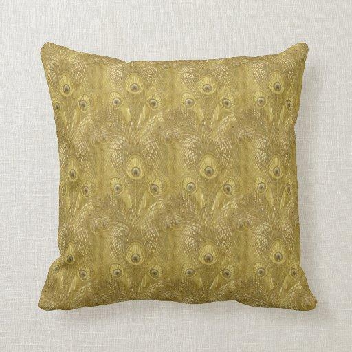Throw Pillows With Feather Design : Golden Peacock feather pattern American MoJo Pillo Throw Pillow Zazzle