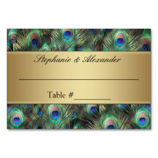 Golden Peacock Feather Table Place Name Cards