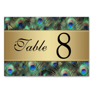 Golden Peacock Feather Wedding Table Number