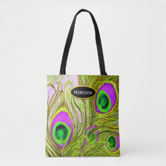 Golden Peacock Feathers All-Over-Print Tote Bag