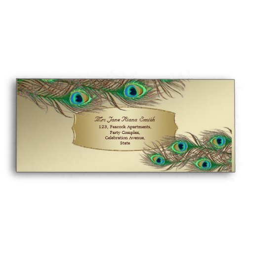 Golden peacock feathers banner #10 envelopes