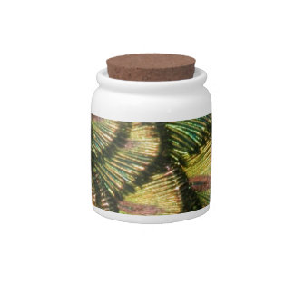 Golden Peacock Feathers Candy Jar
