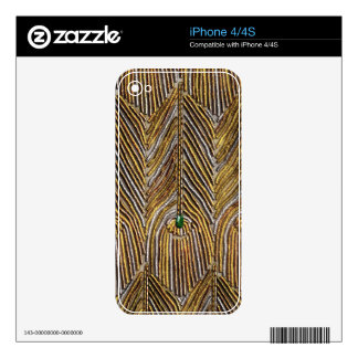Golden Peacock Feathers Decals For iPhone 4S