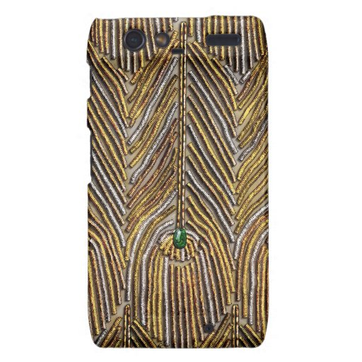 Golden Peacock Feathers Droid RAZR Covers