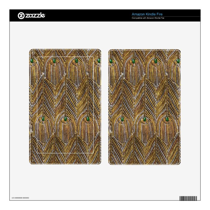 Golden Peacock Feathers Kindle Fire Skin