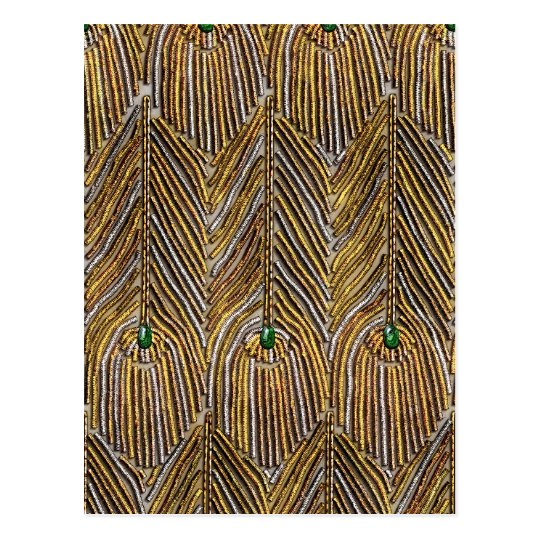 Golden Peacock Feathers Postcard