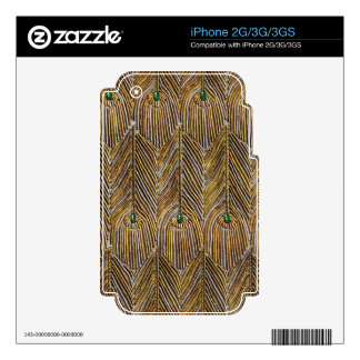 Golden Peacock Feathers Skin For iPhone 3