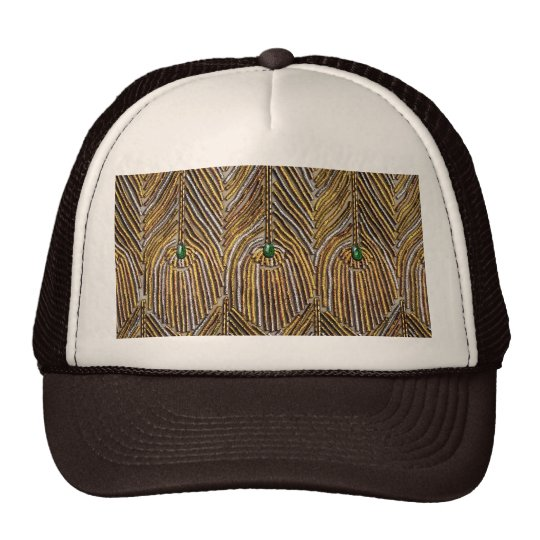 Golden Peacock Feathers Trucker Hat