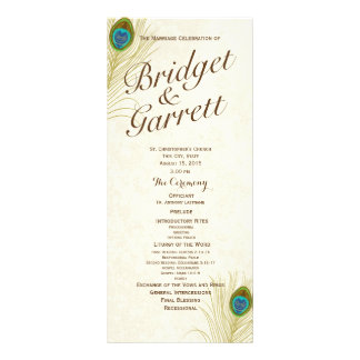 Golden Peacock Feathers Wedding Program