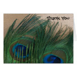 Golden Peacock Feathers Wedding Thank You Cards