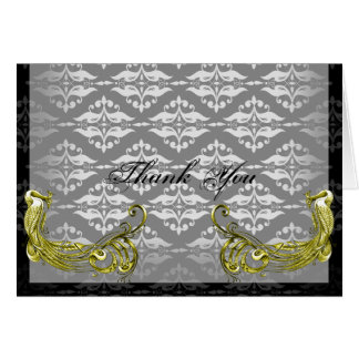 Golden Peacock Illustration on Damask Thank You Card