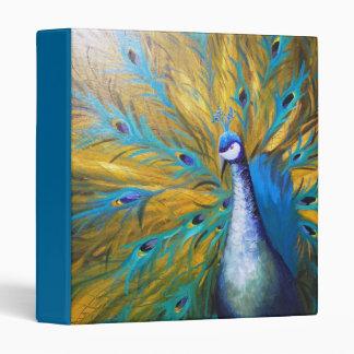 Golden Peacock ! (Kimberly Turnbull Art - Acrylic) 3 Ring Binder
