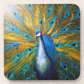 Golden Peacock ! (Kimberly Turnbull Art - Acrylic) Beverage Coaster