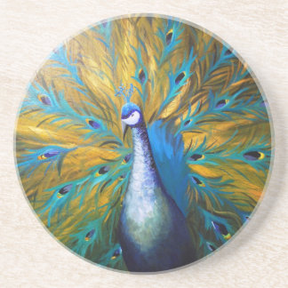 Golden Peacock ! (Kimberly Turnbull Art - Acrylic) Drink Coaster