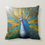 Golden Peacock ! (Kimberly Turnbull Art - Acrylic) Pillows