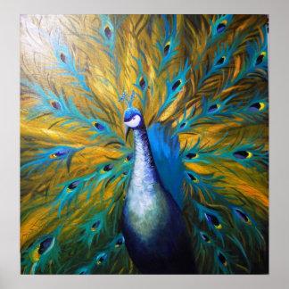 Golden Peacock ! (Kimberly Turnbull Art - Acrylic) Poster