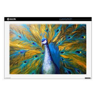 Golden Peacock Kimberly Turnbull Art - Acrylic Laptop Decal