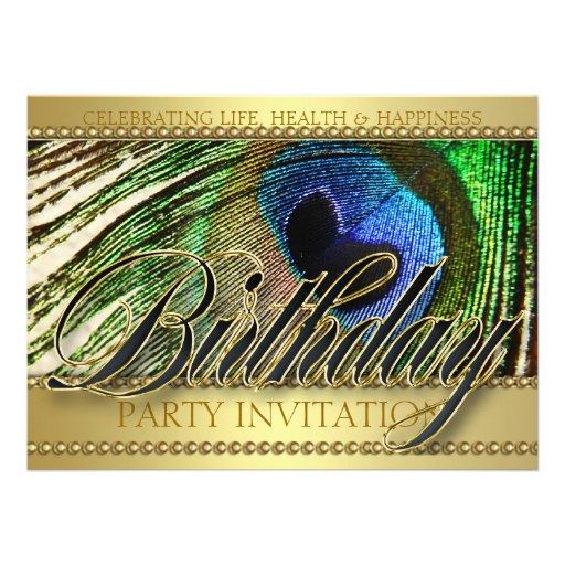 Golden Peacock Love Birthday Party Invitation