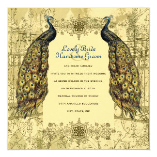 Golden Peacock Ornate Vintage Wedding Invitation