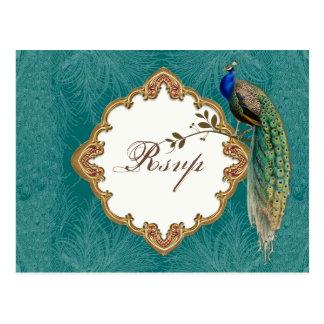 Golden Peacock & Swirls - RSVP Response Postcard