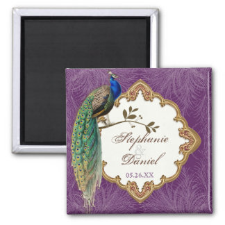 Golden Peacock & Swirls - Save the Date Magnet