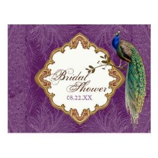 Golden Peacock & Swirls - Save the Date Postcard