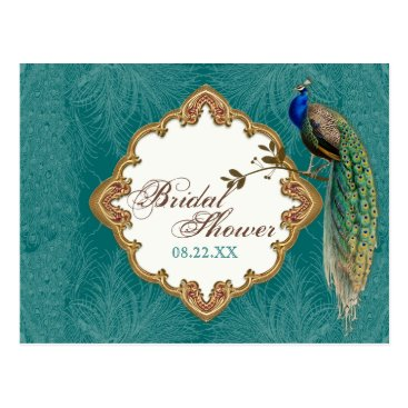AudreyJeanne Golden Peacock & Swirls - Save the Date Postcard