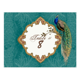 Golden Peacock & Swirls - Table Number Cards