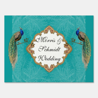 Golden Peacock & Swirls Wedding Ceremony Site Sign