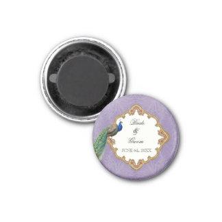 Golden Peacock & Swirls - Wedding Save the Date 1 Inch Round Magnet