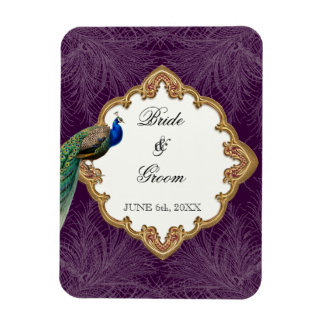 Golden Peacock & Swirls - Wedding Save the Date Magnet