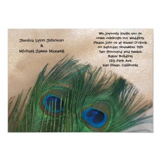 Golden Peacock Wedding 5x7 Paper Invitation Card
