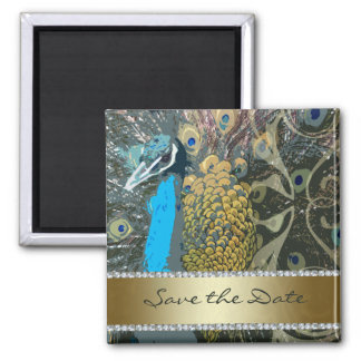 Golden Peacock with Faux Jewels Save the Date Magnet
