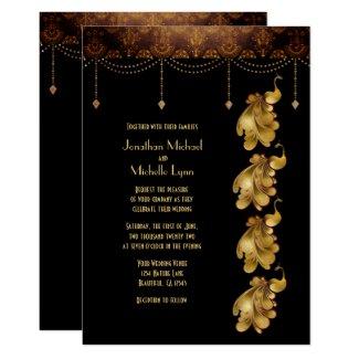 Golden Peacocks, Ancient Egyptian Pattern Wedding Invitation