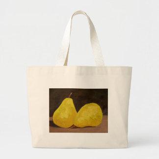 Golden Pears Oil Painting Original Art Yellow Jumbo Tote Bag
