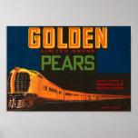 Golden Pears Vintage Fruit Crate Label Poster