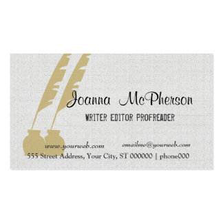 Golden Pen Elegant Writer Editor Journalist Double-Sided Standard Business Cards (Pack Of 100)