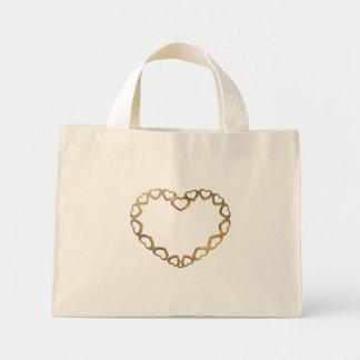 Golden Pendant Heart Mini Tote Bag